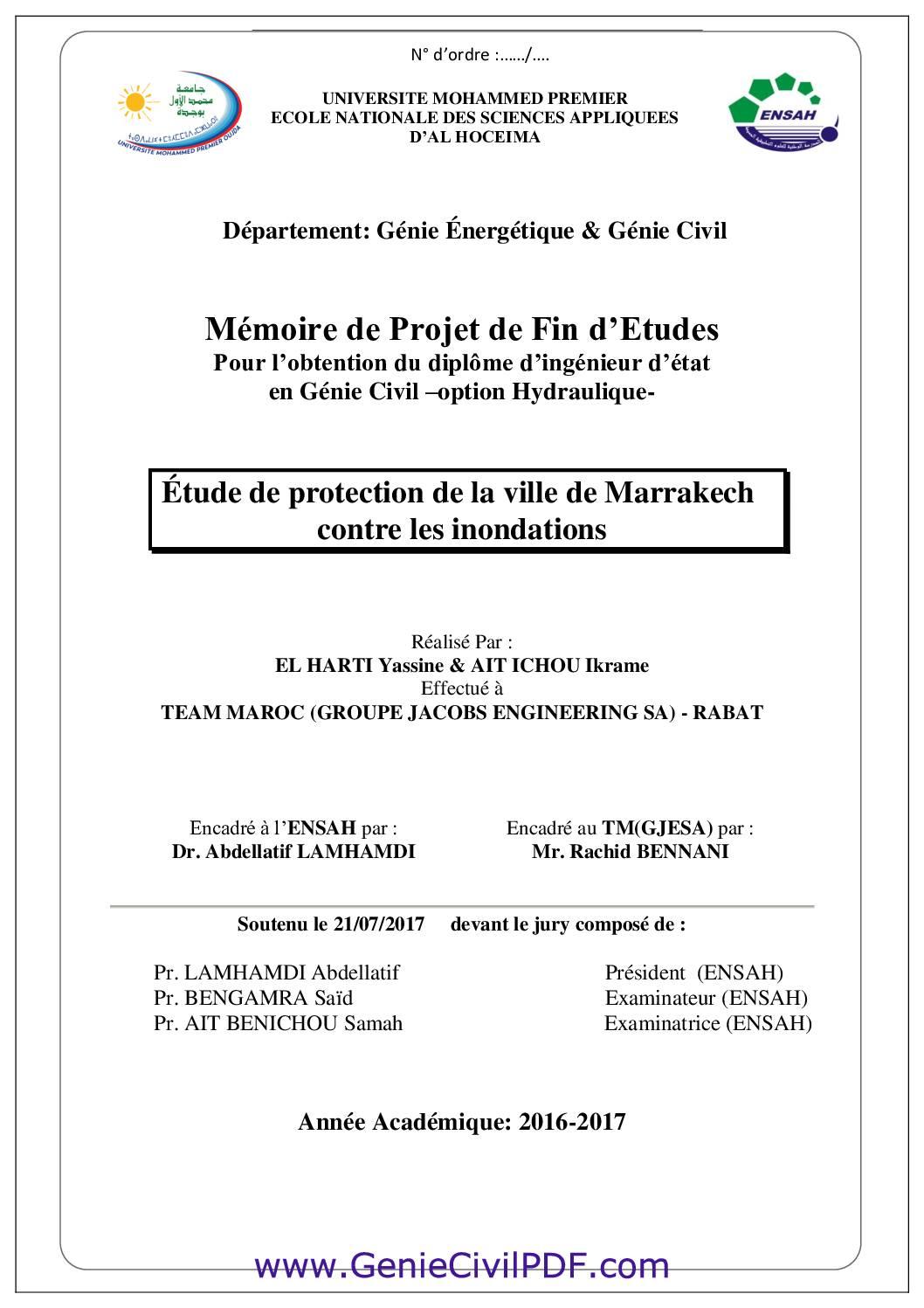 Étude de protection de la ville de Marrakech contre les inondations