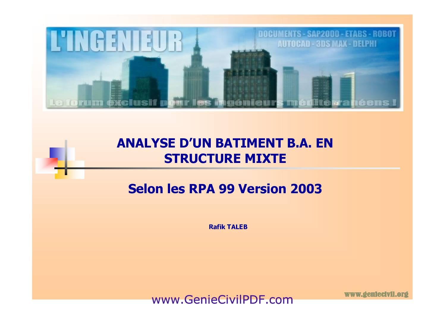 ANALYSE D'UN BATIMENT B.A. EN STRUCTURE MIXTE