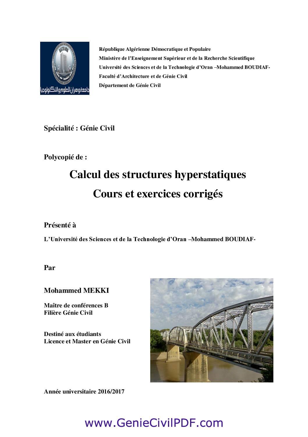 Calcul des structures hyperstatiques Cours et exercices corrigés