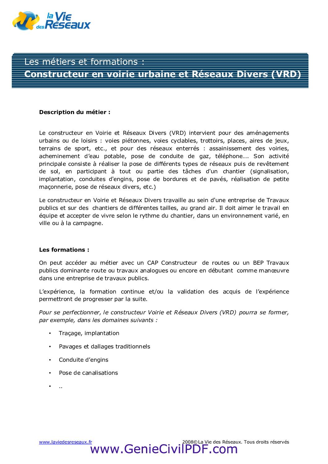 Constructeur en voirie urbaine et VRD