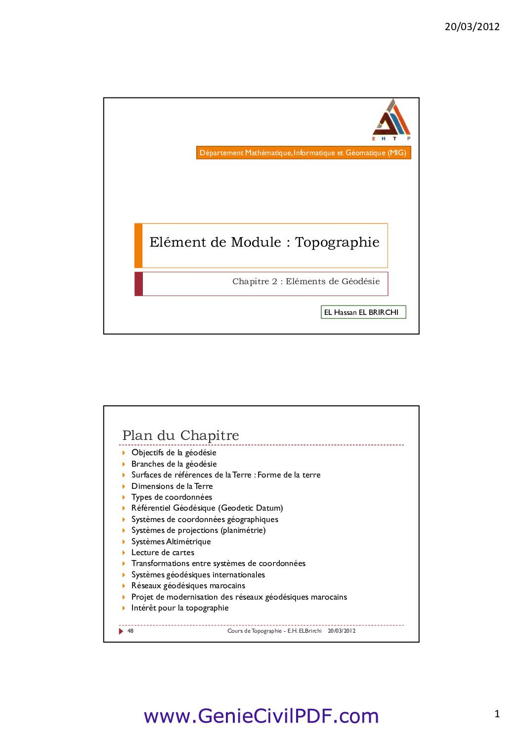 Cours Topographie – Geodesy