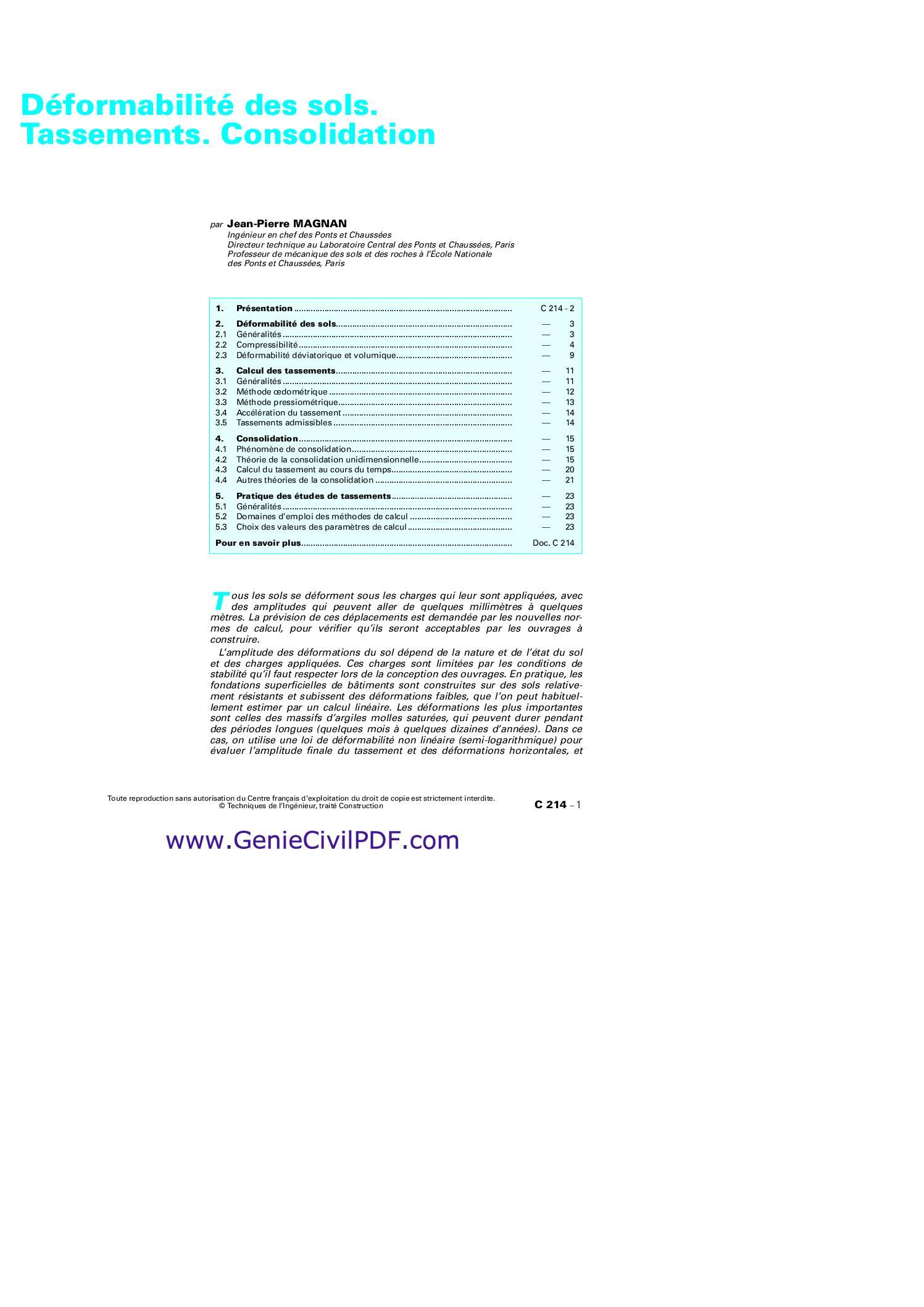 Déformabilité des sols. Tassements. Consolidation