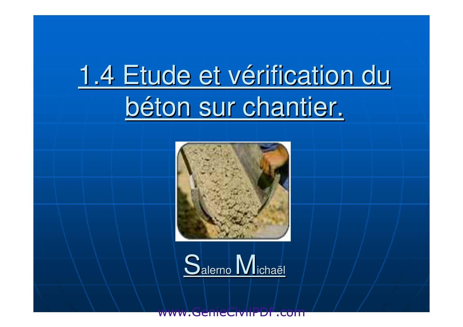 Etude et vérification du beton sur chantier