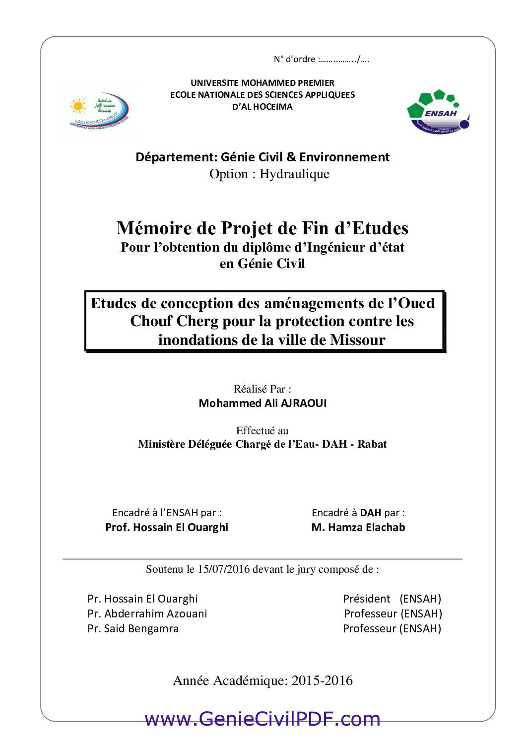 Etudes de conception des aménagements de l'Oued Chouf Cherg pour la protection contre les inondations de la ville de Missour