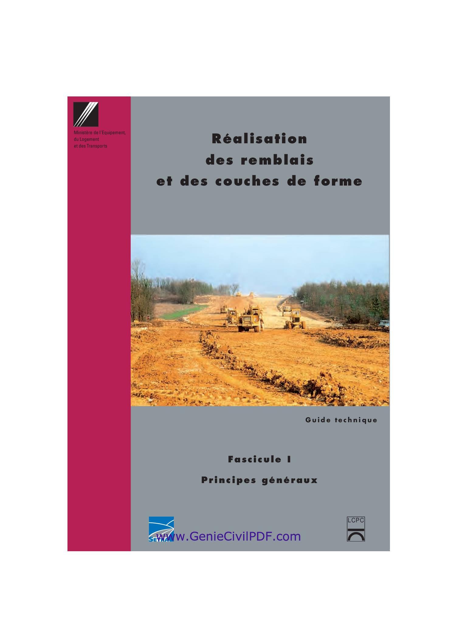 Guide de terrassement routier GTR Fascicule 1 et 2