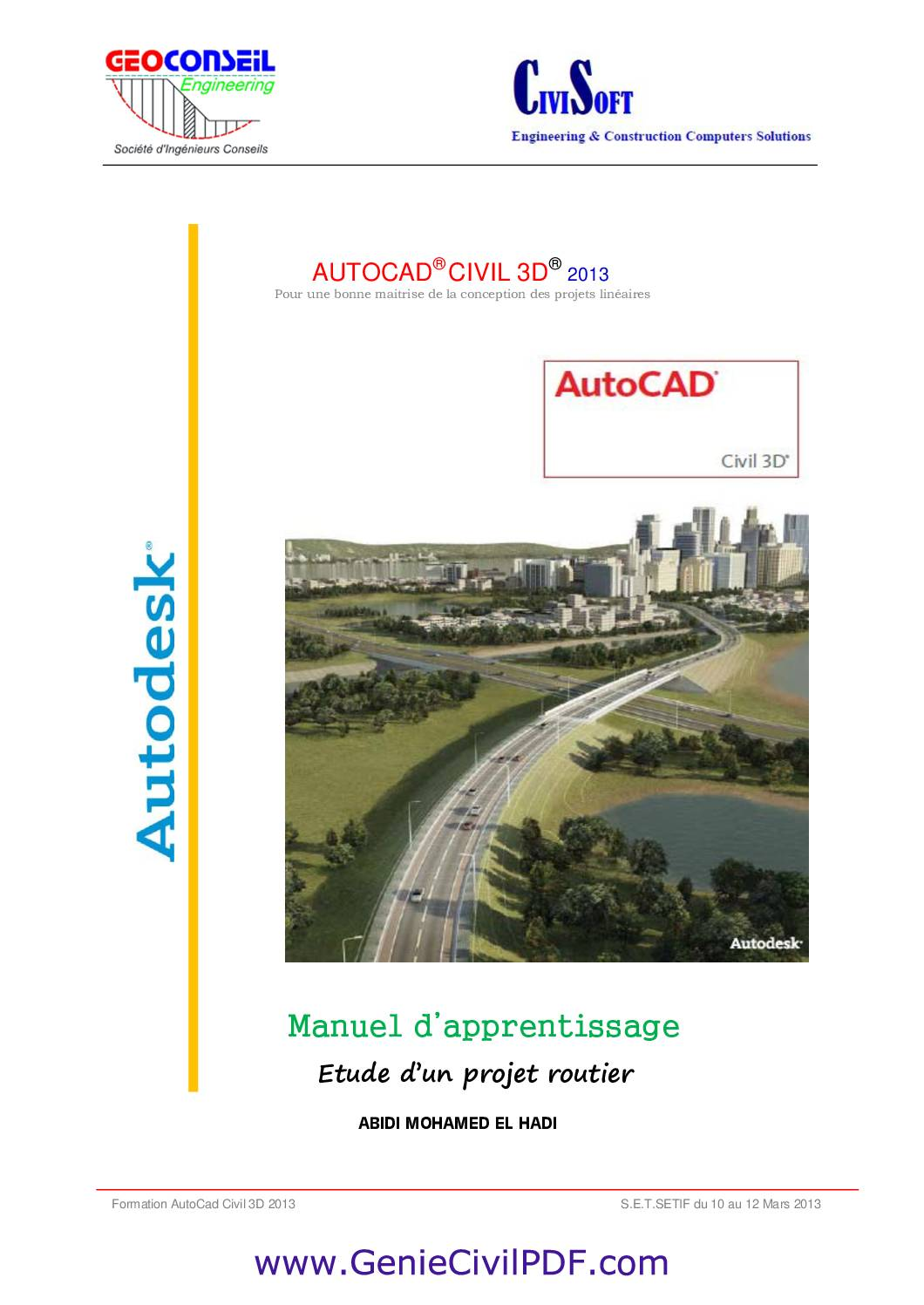 Manuel d'apprentissage Autocad Civil 3D