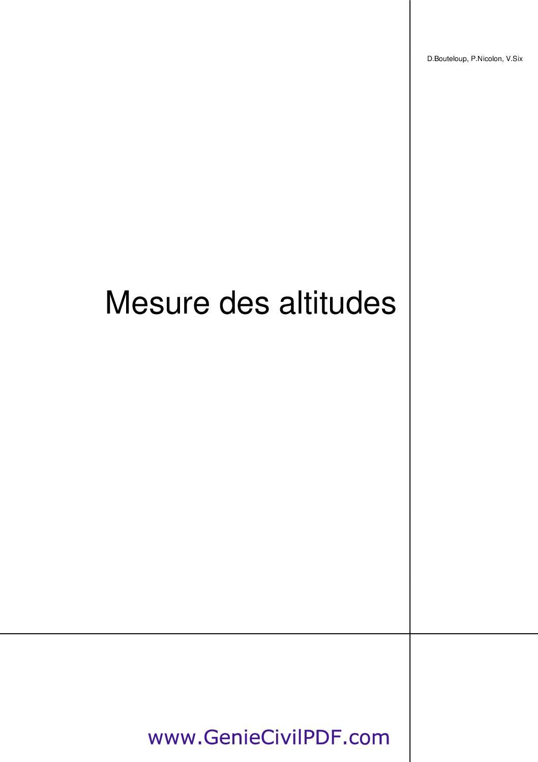Mesure des altitudes