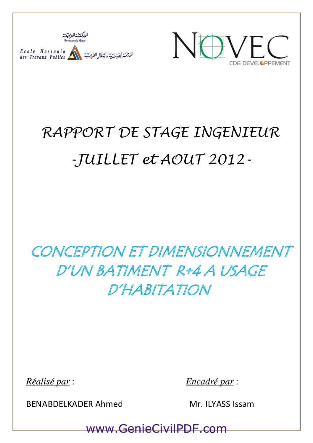 RAPPORT DE STAGE INGENIEUR BATIMENT R+4
