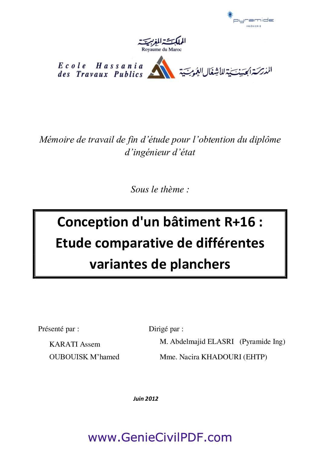 Rapport PFE Conception d'un bâtiment R+16 Etude comparative de différentes variantes de plancher