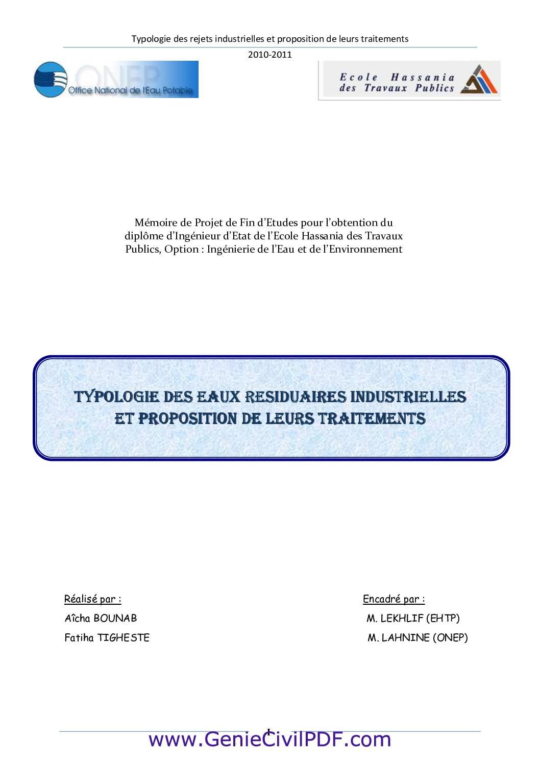 Typologie des rejets industrielles et proposition de leurs traitements