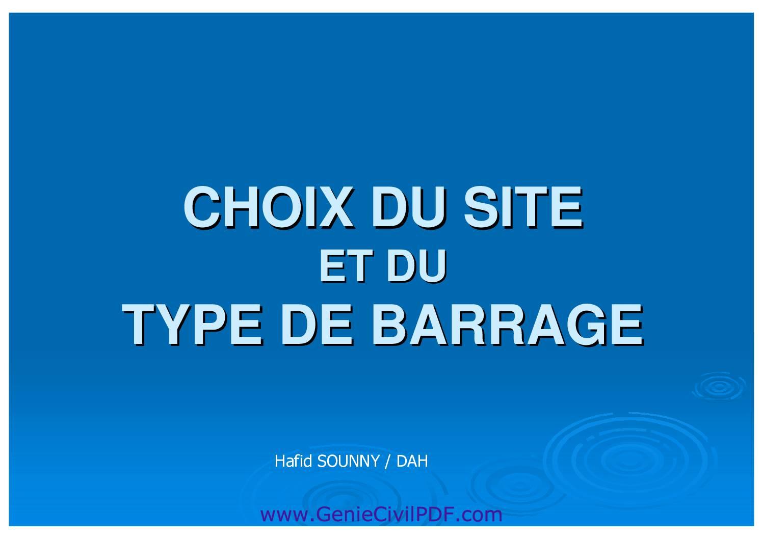 choix de site et du type de Barrage