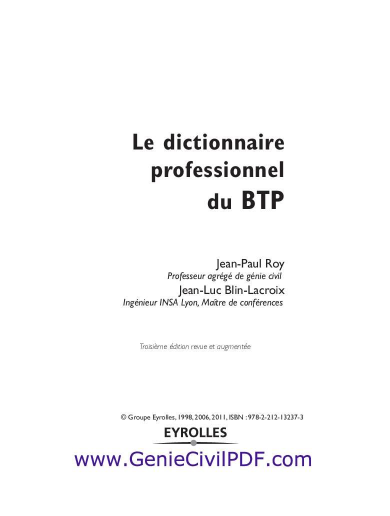 dictionnaire btp