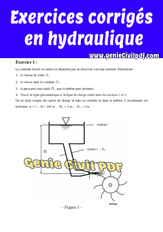 Exercices corrigés en hydraulique